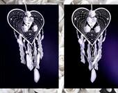 Dreamcatcher, feather dreamcatcher, wedding decor, boho decor, lace dreamcatcher, boho wedding,white dreamcatcher,crystal dreamcatcher, OOAK