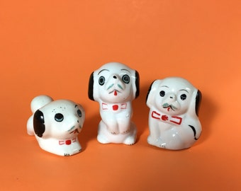 Ceramic dog figurines, Set of 3, Black and white, Bow tie, 1950- 1960's