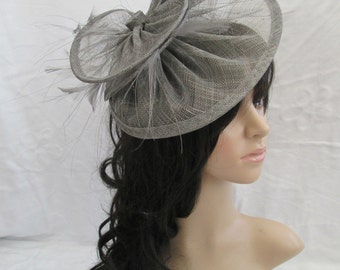 Pewter Grey S inamay & feather suacer disc  fascinator..on a headband