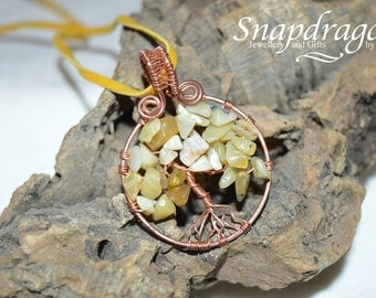 Honey Opal tree of life on copper with a woven bail and suede cord