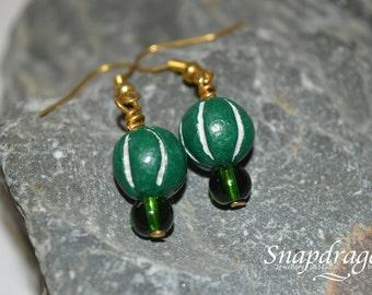 Green African clay bead earrings