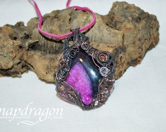 Hot purple druzy agate wire wrapped pendant