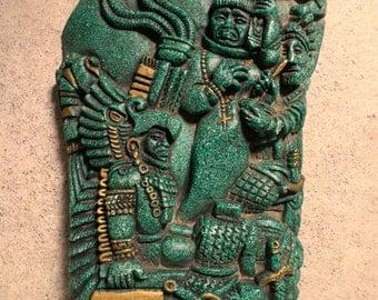 Vintage Mexican Folk Art Zarebski Malachite Mayan Aztec Pre-Columbian Spanish