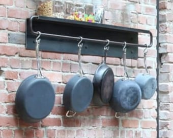Wall Mounted Steel Pot Rack with Built-in Shelf