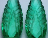 2 Matched Pairs,Emerald Green Quartz Carving Faceted Pear Shape Briolettes,12x30mm