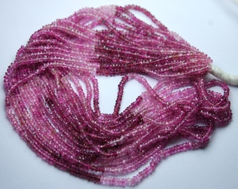 14 Inch-Super-FINEST- Shaded Pink Tourmaline Faceted Rondelles 2.75-3mm Large Size