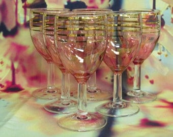Six pink and gold sherry or port glasses - extra pretty!