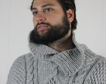 Hand knitted large turtleneck jumper