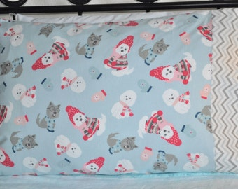 Handmade standard sz pillowcase Flannel Winter Dogs