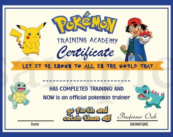 INSTANT DL- Pokemon certificate-  Printable digital file birthday party pokemon Go diploma