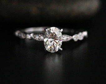 Moissanite Oval Engagement Ring with 7x5mm Classic Moissanite and Diamond Milgrain Band in 14k White Gold