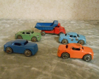 1950's Set of Four Metal Barclay Cars & One Barclay Dump Truck