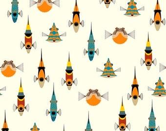 Tropical Fish - Charley Harper Maritime - 100% Organic Cotton - Birch Fabrics - 1 yard