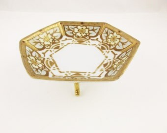 Art Deco/Nouveau - A 'Nippon Bibi' Triple Foot Compote - Hand-decorated Porcelain Bowl - Marked Bottom
