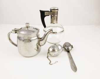An Instant Tea Making Collection - Aluminum Tea Acorn - Water Carafe - 6 Oz. Stainless Teapot-  Tealeaf Spoon - Beverage Making Needs