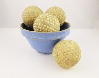 Five Soft, Dimpled, Rubber Balls - Used Balls - Played With - Light-weight Balls - Mix and Match With Glass and Ceramic - Wonderful Texture