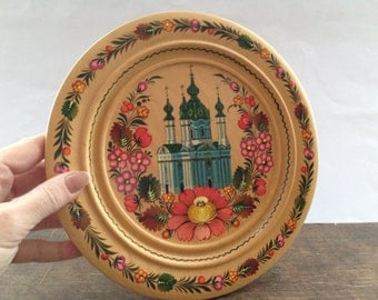 Soviet vintage wooden plate Hanging wall plate Round Russian folk plate Bright Moscow souvenir plate