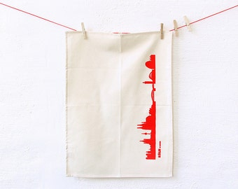 Dish Towel Cologne red, Cologne tea towel, green gift, Cologne skyline print, Kitchen Decor, Cologne hostess gift, Novalty towel, 44spaces