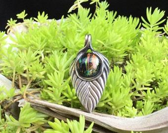 Precious Metal Clay Leaf Pendant with Dichroic Glass