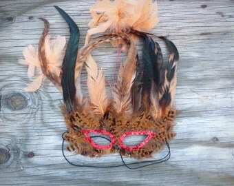 Handmade Feather Sequin Mask-Woodland Animal Halloween Masquerade