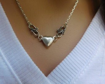 Sterling silver heart necklace, wedding necklace, anniversary gift, love jewelry