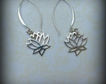 Sterling silver lotus flower earrings, yoga earrings, dangle earrings wedding earrings