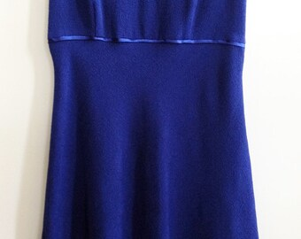 Vintate 1960s Blue Sleeves A-Line Dress