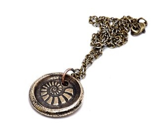 """Hand Crafted Solid Bronze Wax Seal Fossil Pendant on 16"""" Antiqued Brass Chain Necklace"""