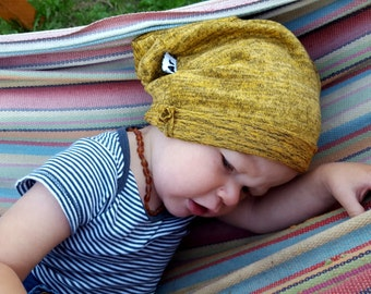 Slouch Beanie / Tiny Travelers Adult and Child Beanie / Light Weight Hat / Mustard / boy / girl