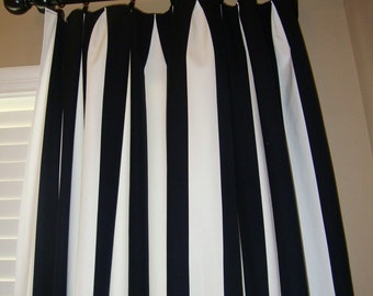 One pair black and white canopy stripe  curtains