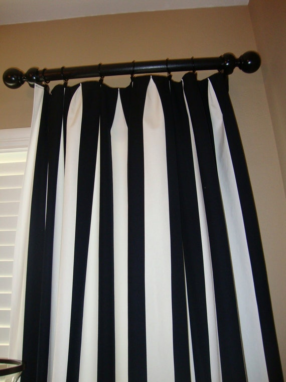 one pair black and white canopy stripe curtains. Black Bedroom Furniture Sets. Home Design Ideas