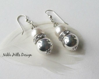 Pearl and Silver Ball Earrings, Pearl and Crystal Earrings, Bridal Earrings, Wedding Earrings Jewelry, Bridesmaid Gift, Bridesmaid Earrings