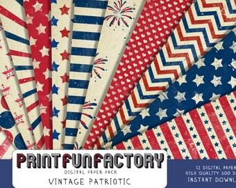 Patriotic digital paper - Vintage United States stars stripes patriotic background - 12 digital papers (#197) INSTANT DOWNLOAD