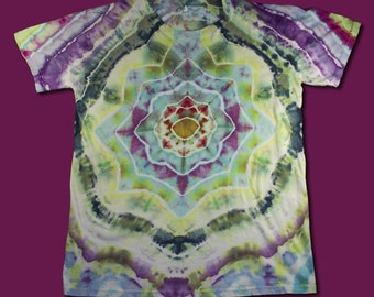 Ice Dyed T-Shirt, Lotus Flower, M, Tie Dye