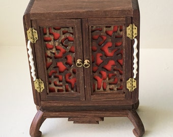 "Dollhouse Miniature Chinese Style Cupboard by Peggy Tayor 1"" Scale"
