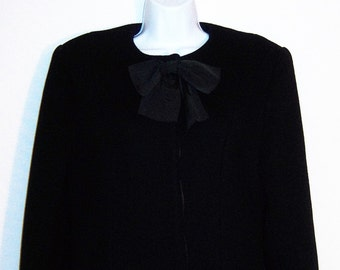 Vintage Christian Dior Black Wool Coat Small 2 4 New York Paris Bow Hepburn Winter Fitted
