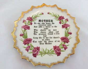 Vintage Mother Plate Wall Hanging, Mother Verse Plate