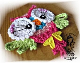 Crochet PATTERN, Applique Cute Little Owl, Application, DIY Pattern 64, Instant Download