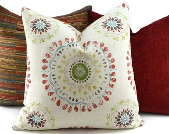 Red, Blue, Green, Gold, Brown, Tan & Off White Suzani Print Pillow Cover, Throw Pillow Cover, Lumbar Pillow Cover, 16x16, 18x18, 20x20