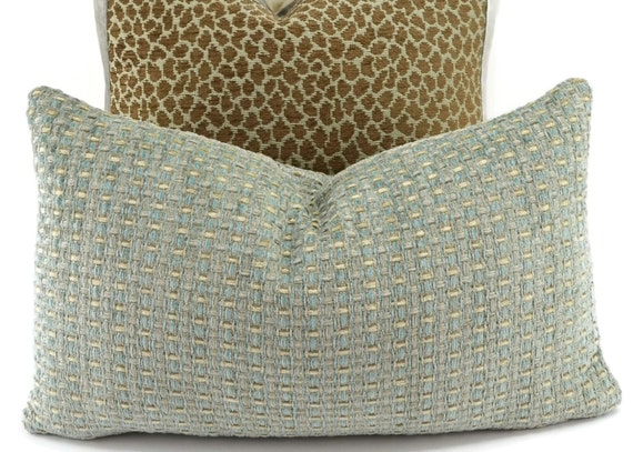 Pale Aqua Throw Pillow : SALE Pale Aqua & Crean Chenille Lumbar Pillow Cover Throw