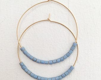 Denim Gold Hoop