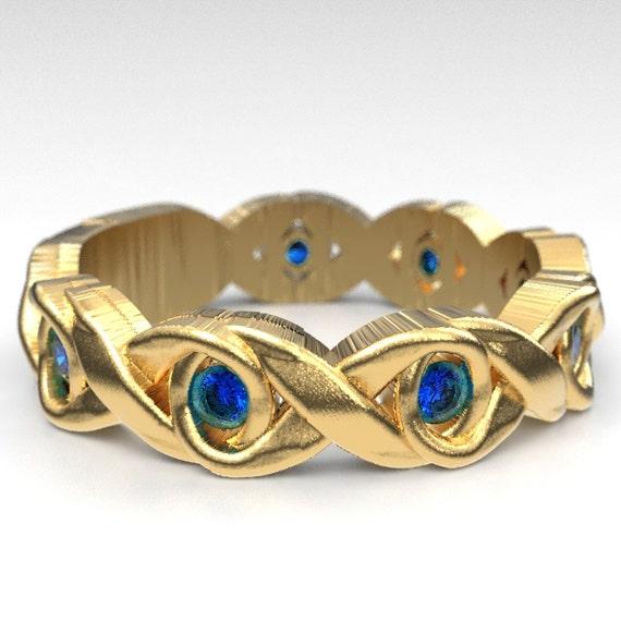 Celtic Sapphire Wedding Ring With Infinity Knot Design in 10K 14K 18K Gold, Palladium Platinum, Sapphire Celtic Knot Ring, Custom Size 1107