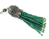 Large Long Sparkly Green Facet Cut Rondelle Crystal Beaded Tassel with Crystal Accents - Antique Bronze - 1PC