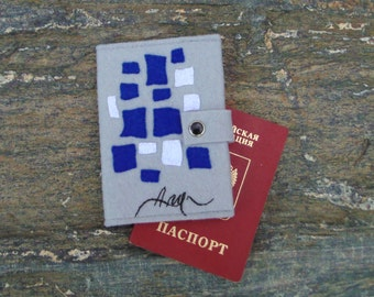 Jean Arp  Passport Cover/Hand Embroidered Passport Wallet/ Geometric Art Passport Holder/Collage