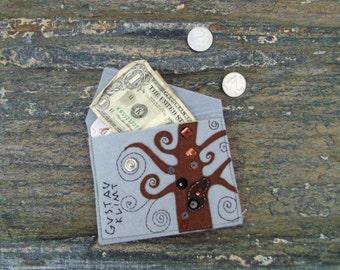 Gustav Klimt wallet/Birth control pill case/Hand embroidered coin purse/Credit card case/Vegan Felt pouch/