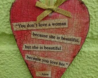 """Heart hanger - """"...she is beautiful"""""""
