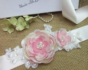 Vintage Inspired Bridal Flower Sash, Bridal Wedding Sash Belt, Wedding Accessories