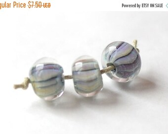 ON SALE Handmade Glass Lampwork Beads - Green Olive Violet Transparent Multicolor