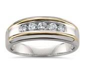 14k Two-Tone White & Yellow Gold Round Diamond Men's Wedding Band Ring (1/2 cttw, H-I, SI2-I1)