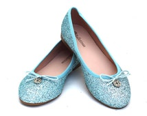 Glitter ballerinas shoes Iona, Light blue glitter, flat shoes, confortable, soft, woman shoes, wedding shoes, Bridal shoes, Ceremony shoes.